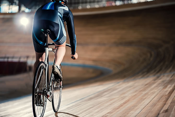 indoor cycling on velodrome