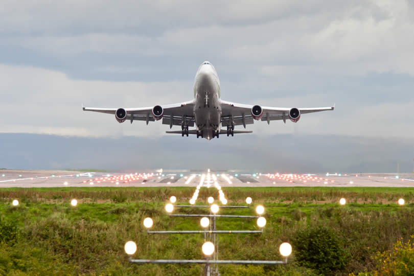 Airplane departing from UK airport