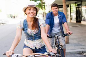 Couple on a rental bike UK