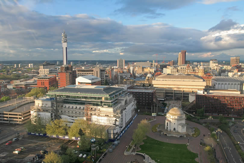 Birmingham city centre aerial view