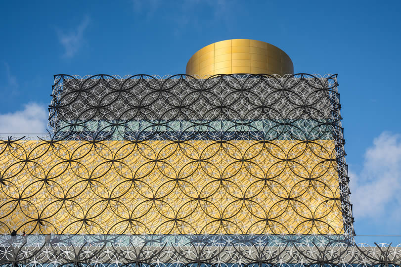richly patterned wall of the public library in Birmingham