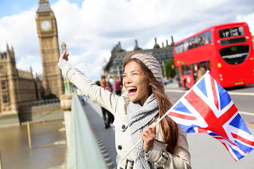 London woman standing on Westminster Bridge