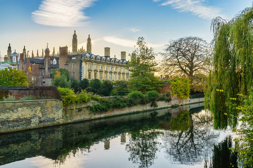 Cam river and Clare College in Cambridge,