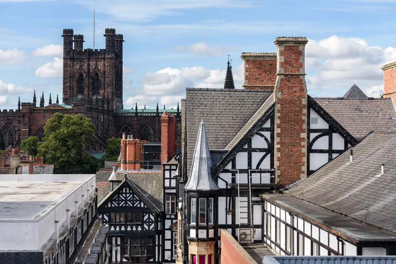 Chester Cathedral and Houses