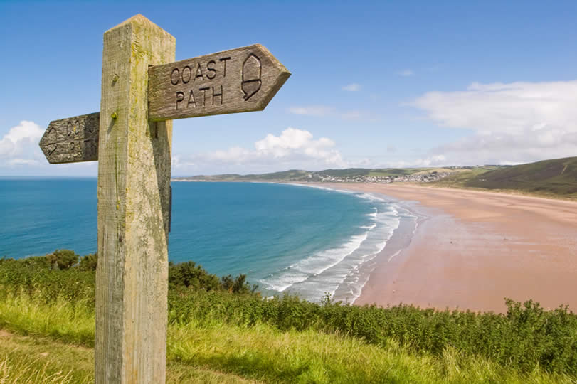 Coastal path sign in Devon England