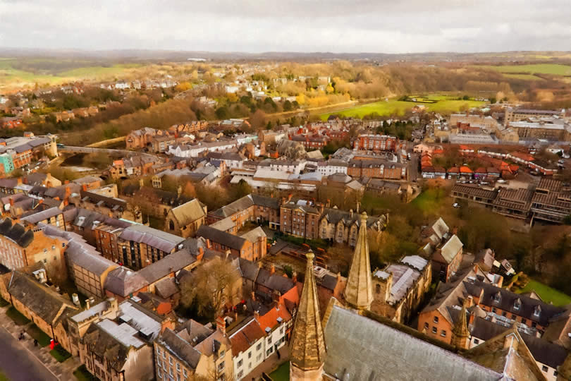 top view of Durham city from the tower