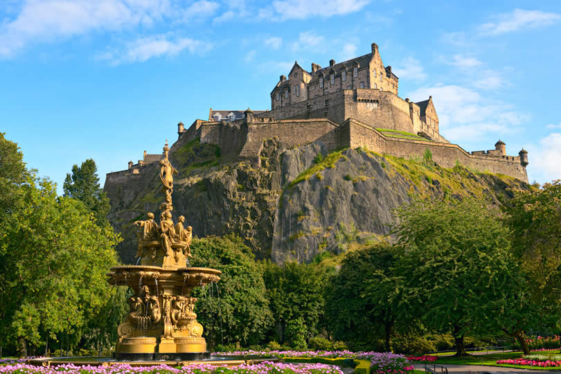 Edinburgh Castle Scotland from Princes Street Gardens