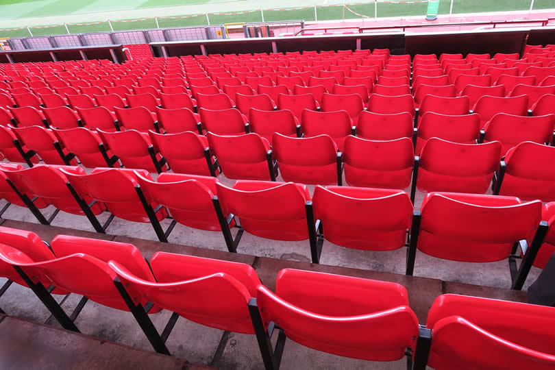 Red stadium seats in Britain