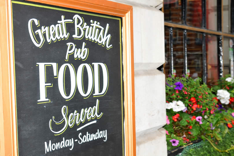 Food sign outside English pub