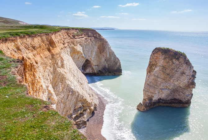 Chalk cliffs at Freshwater Bay on the Isle Of Wight