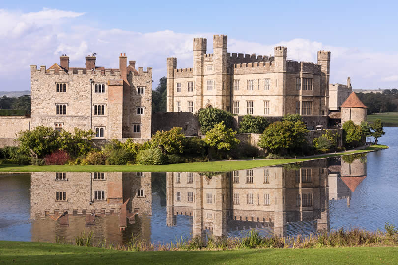 Reflection of Leeds Castle in Kent England