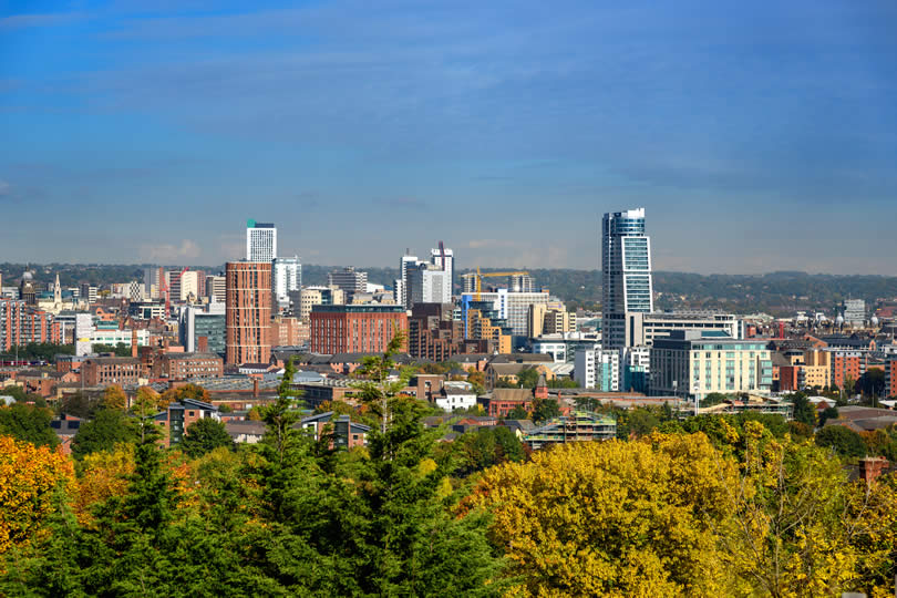 Aerial view of Leeds UK city centre