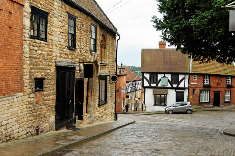 Historic Steep Hill Street in Lincoln UK