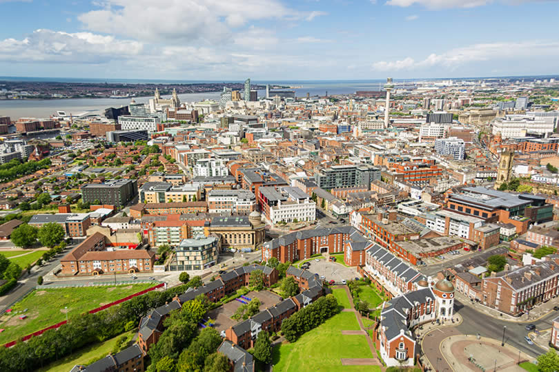 Aerial city view of Liverpool UK