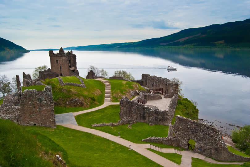 Urquhart Castle at Loch Ness in Scotland