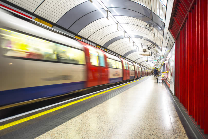 London train in underground station