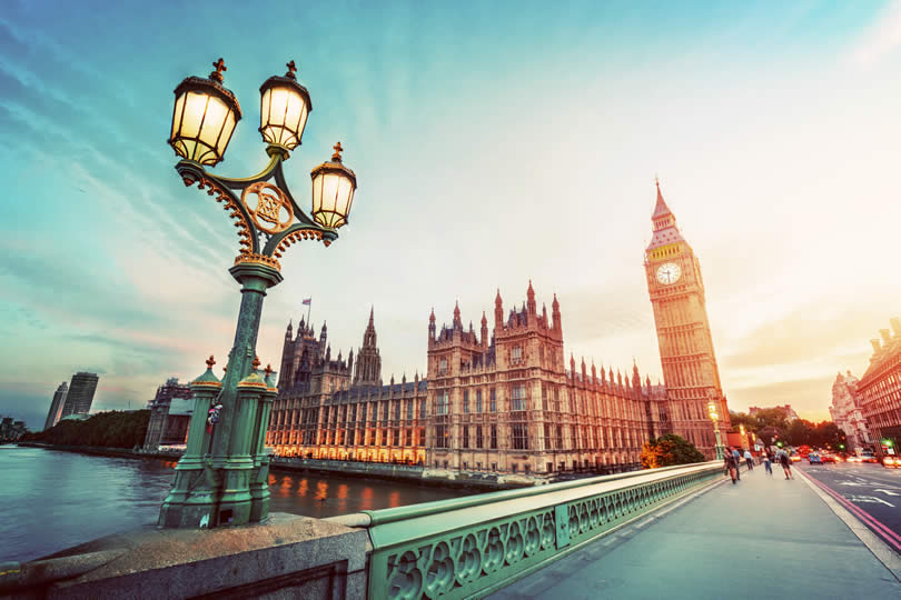 Retro street lamp light on Westminster Bridge London