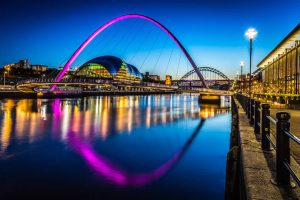 Newcastle Quayside Millennium Bridge at night