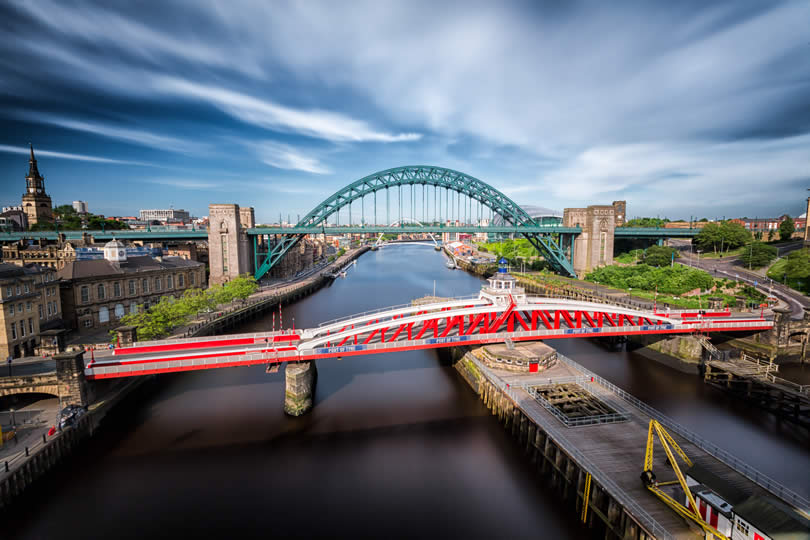 Tyne and Swing Bridge in Newcastle England