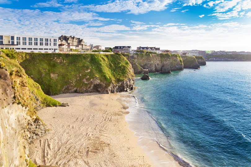 Beach and cliffs Newquay England