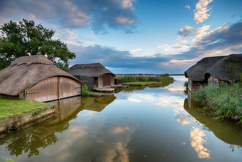 boat houses floating Norfolk Broads