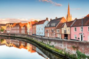 Houses alongside river Yare Norwich in Norfolk