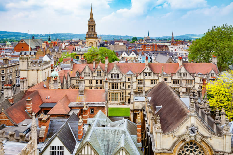 Oxford city centre aerial view