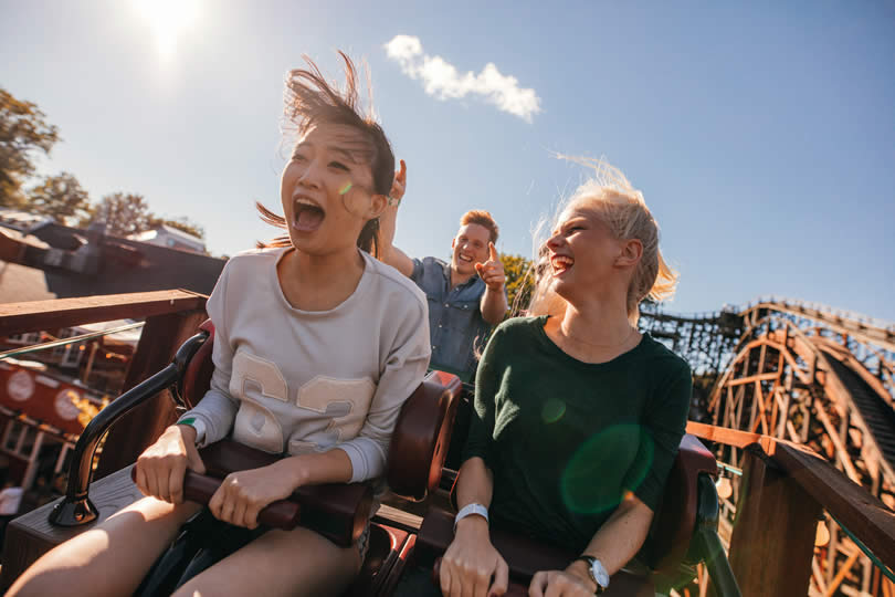 two girls in rollercoaster ride