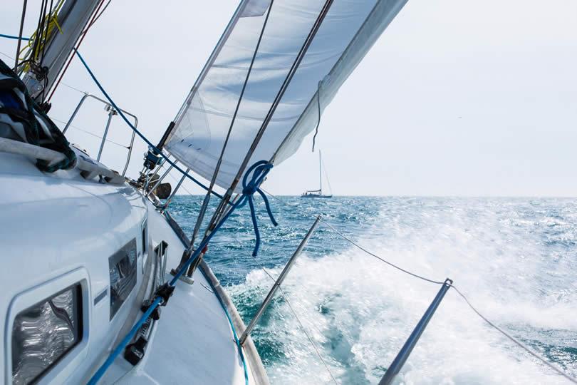 Saling boat in regatta England