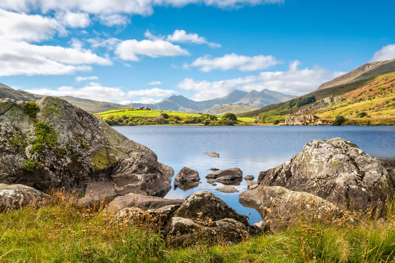 Lake Llynnau Mymbyr in Snowdonia National Park