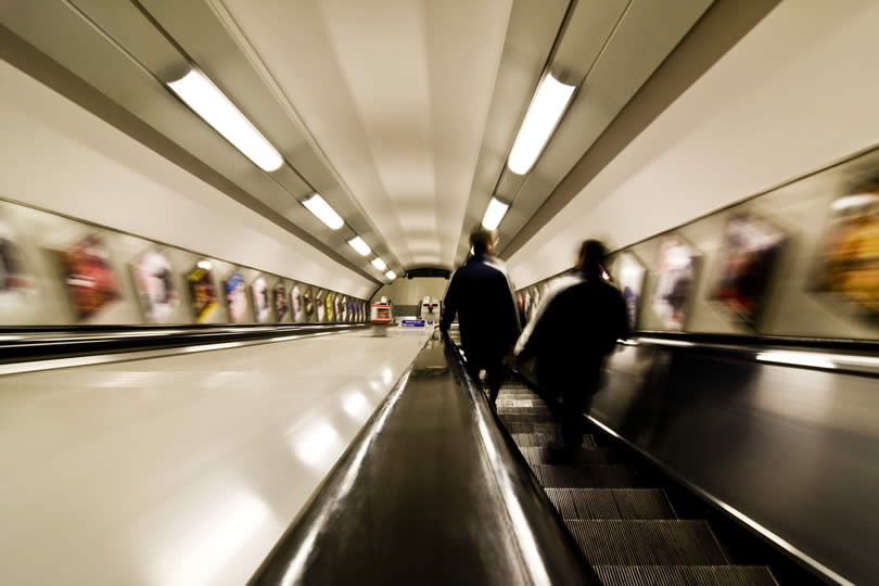 Moving staircase in London Metro