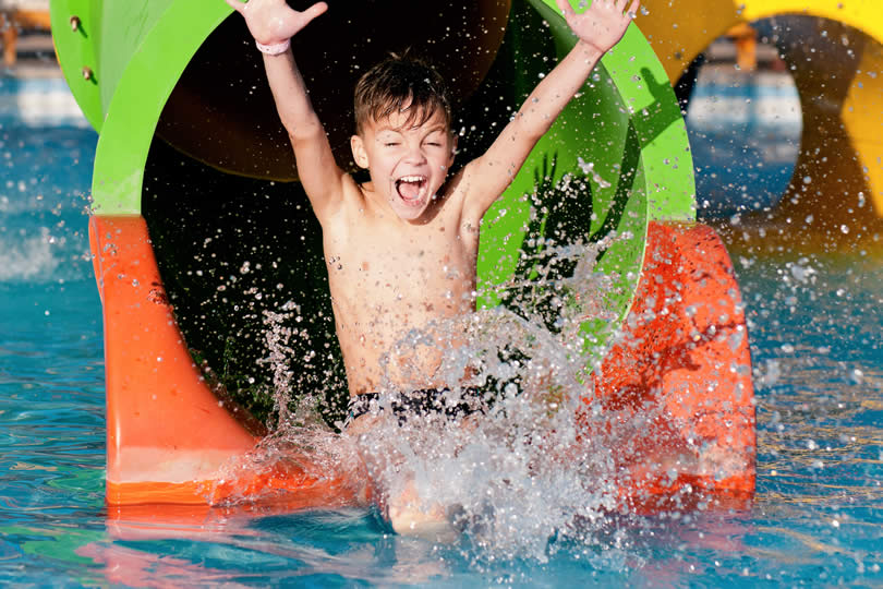 Waterpark slide with young kid
