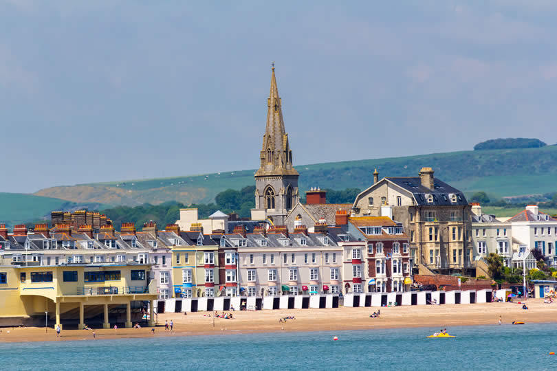 Weymouth Dorset beach and town centre