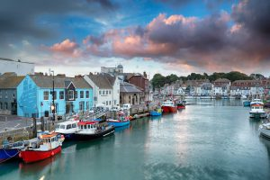 Weymouth harbour view in England