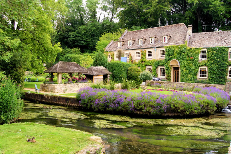 Cotswold village of Bibury in England