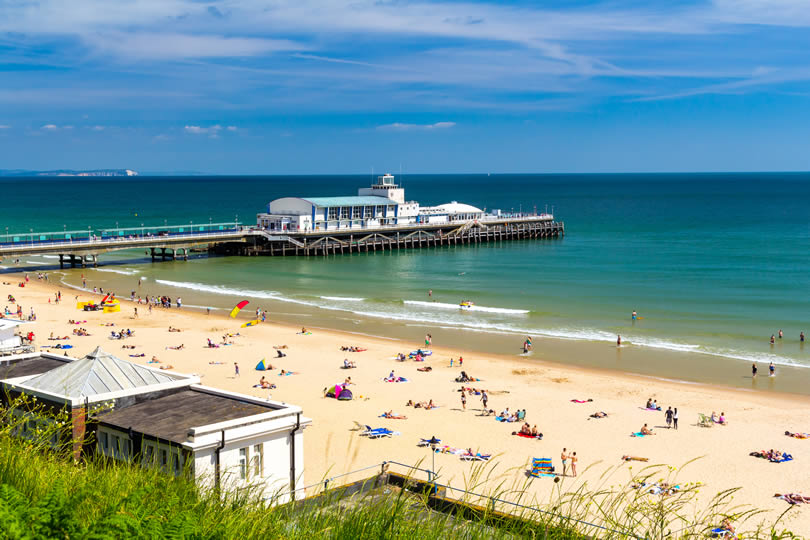 Bournemouth Beach and Pier Dorset England UK