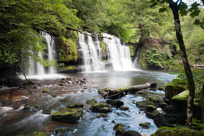 Sgwd Isaf Clun Waterfall in Brecon Beacons Wales