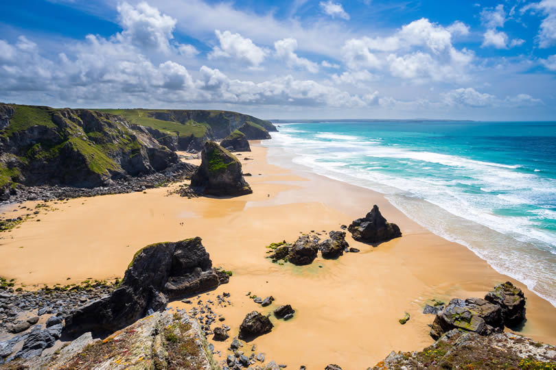 Pentire Steps Beach in Cornwall England