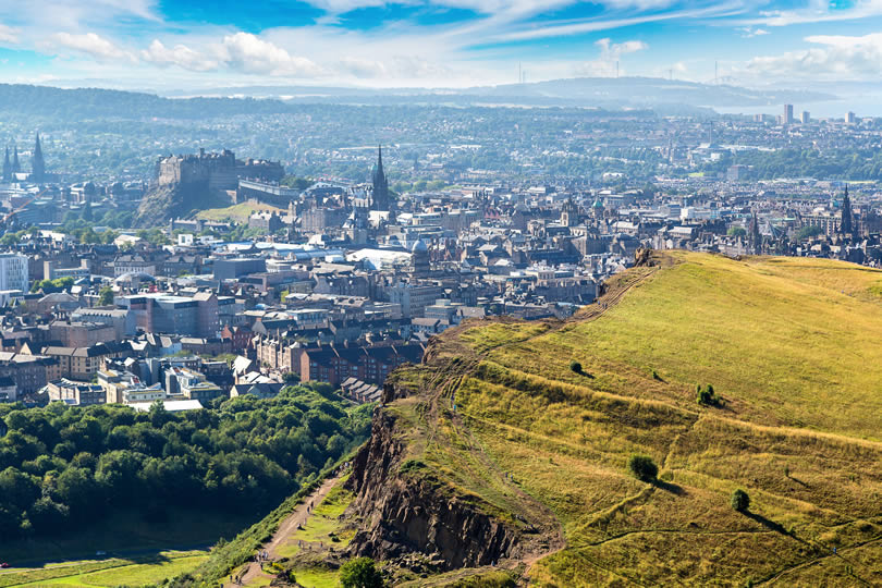 Cityscape of Edinburgh from Arthur's Seat