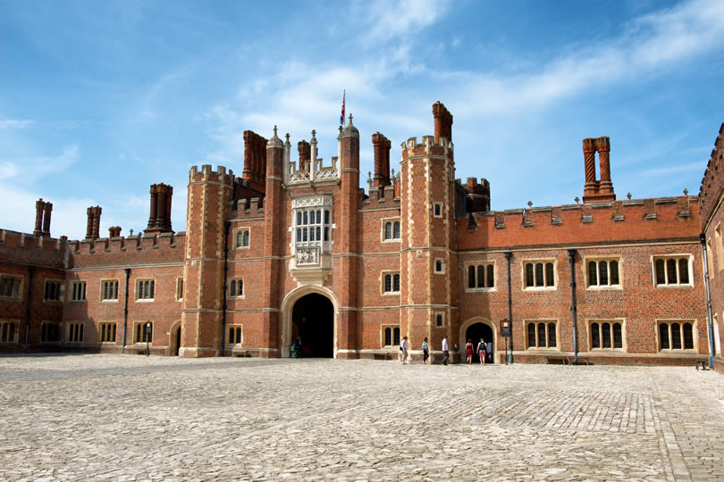 Main Court at Hampton Court Palace in England UK