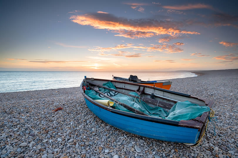 fishing boats at Chesil Beach on the isle of Portland