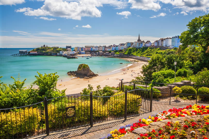 Tenby Beach and Park in Pembrokeshire Wales
