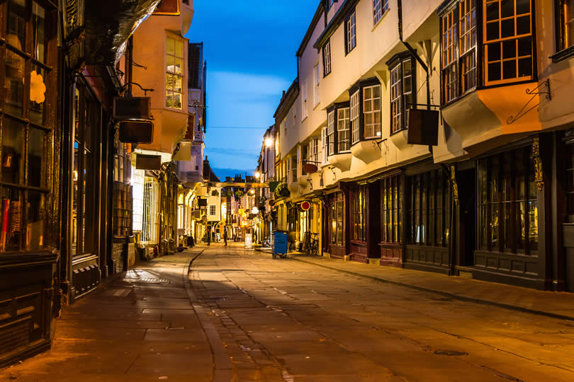 Old Street In The Evening York Uk