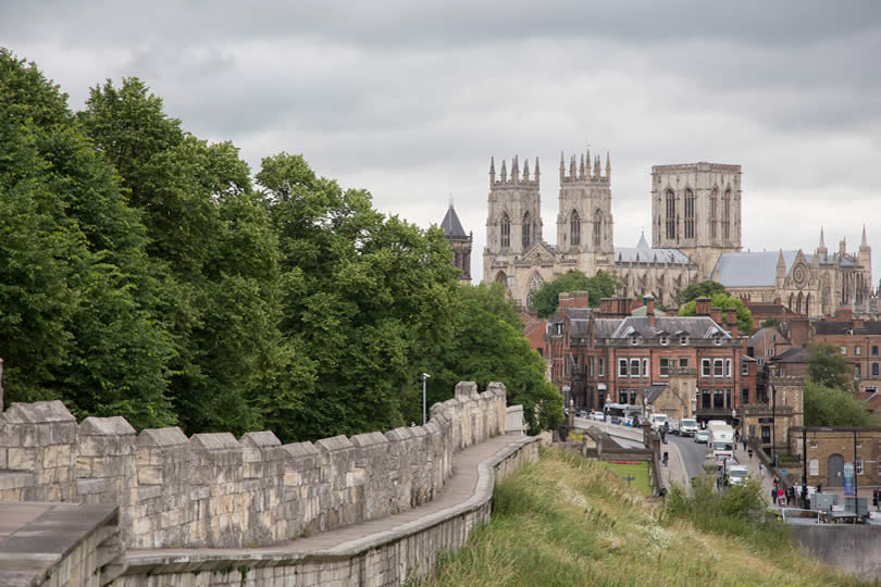 Medieval walls surrounding York UK
