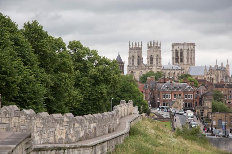 Medieval walls surrounding York UK