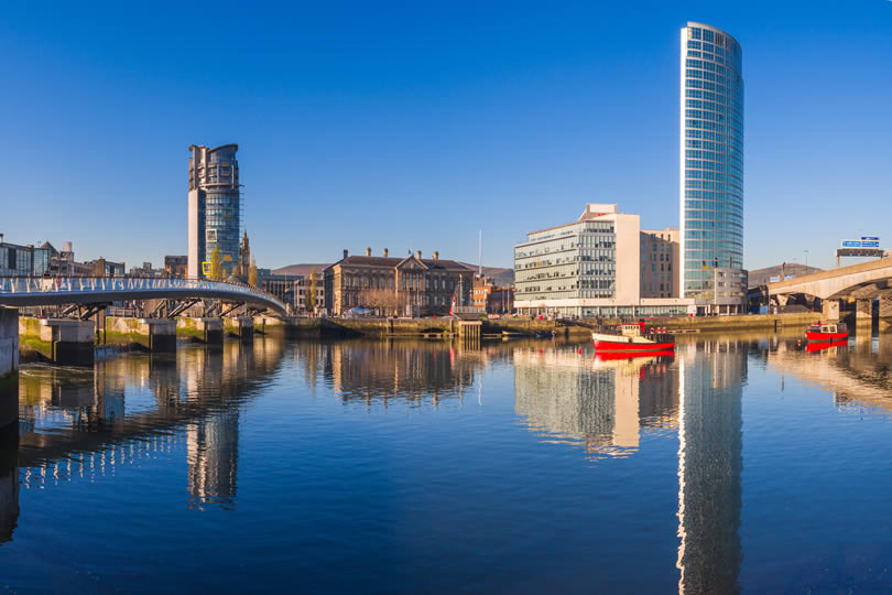 River Lagan in Belfast City Northern Ireland