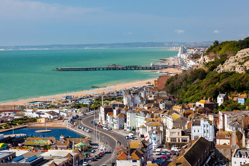 town of Hastings East Sussex in England