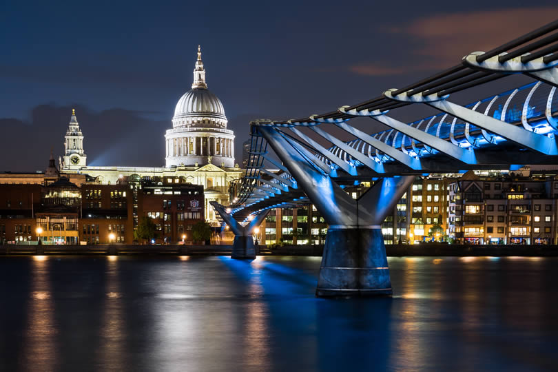 St Paul's Cathedral and Millennium Footbridge in London
