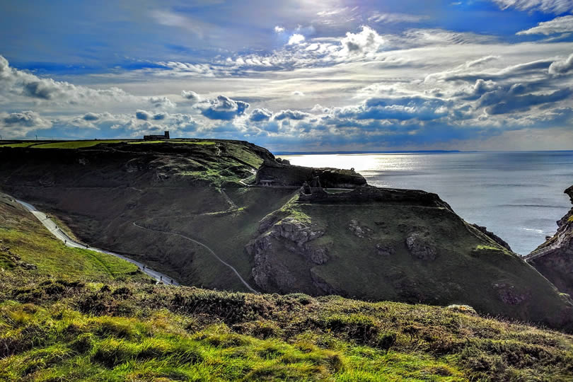 Tintagel Island and legendary castle ruins