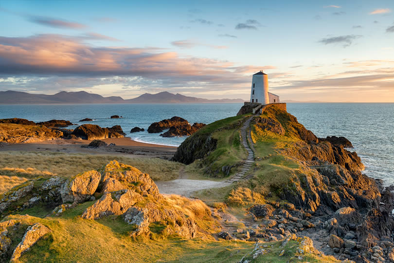 Ynys Llanddwyn island on the coast of Anglesey in North Wales